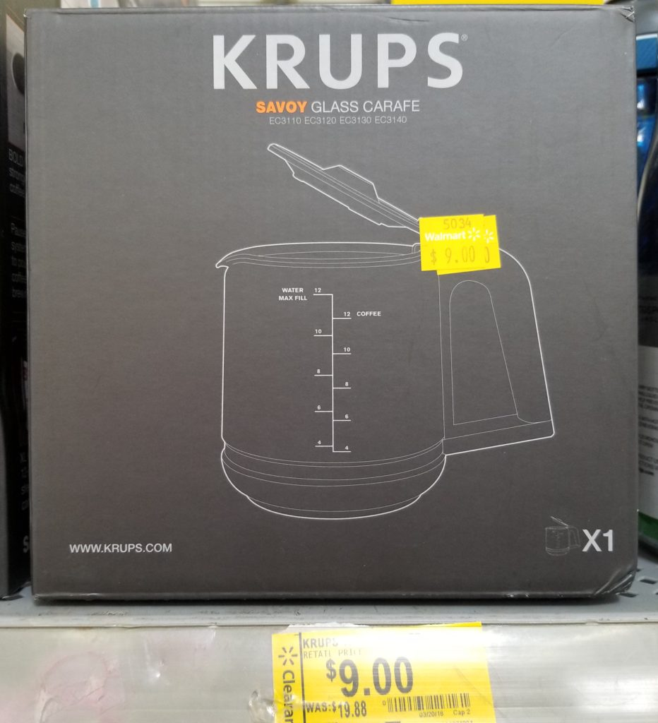 Krups Coffee Maker And Replacement Carafes On Clearance At