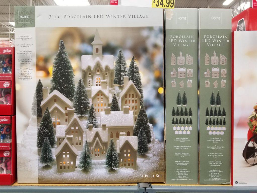 31 Piece Porcelain Led Winter Village Just 34 99